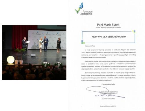 Nagroda specjalna dla Marii Syrek – prezesa OZ PTSM